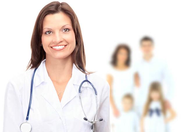 врач и семья пациентов на фоне